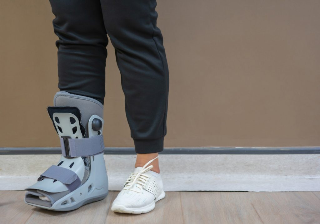 Person wearing a foot brace